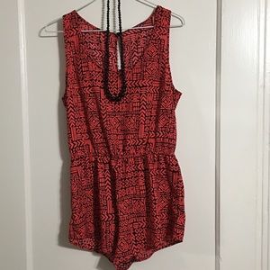 Super cute red and black romper sz M